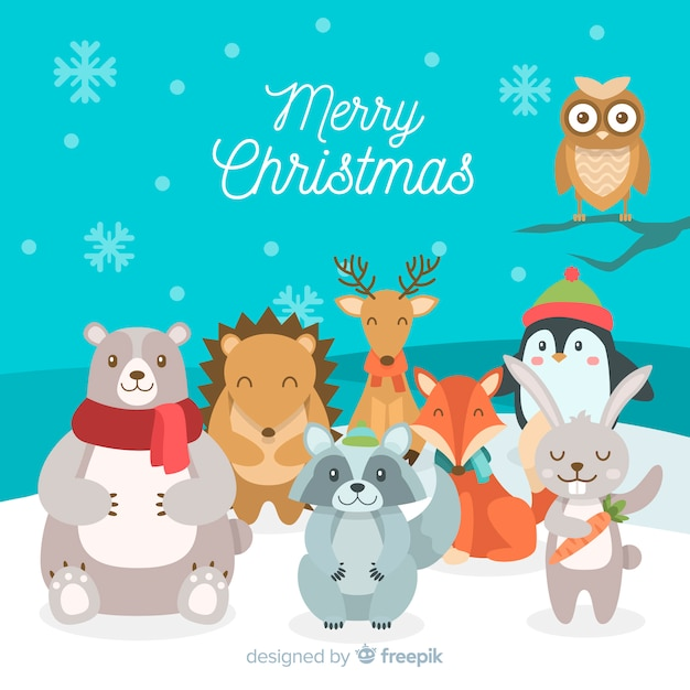 Smiling animals christmas background Free Vector