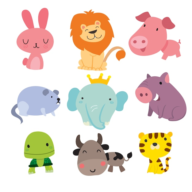 Smiling animals collection Free Vector