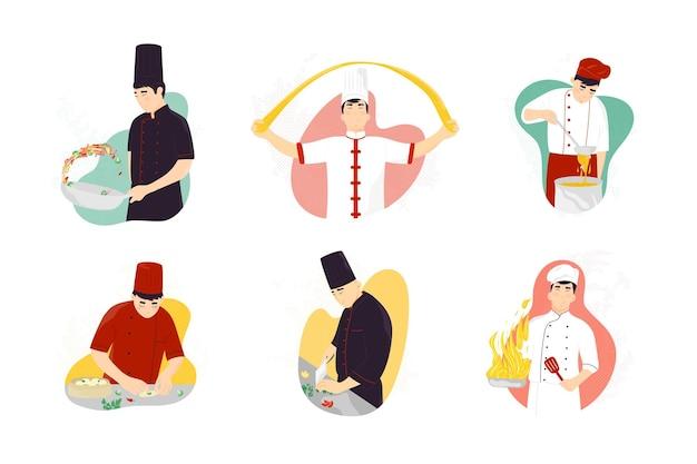 伝統的な東洋のファストフードを調理する笑顔のアジア人シェフ。刺身の準備、中華鍋料理、野菜の切り身、生地の練り方 Premiumベクター