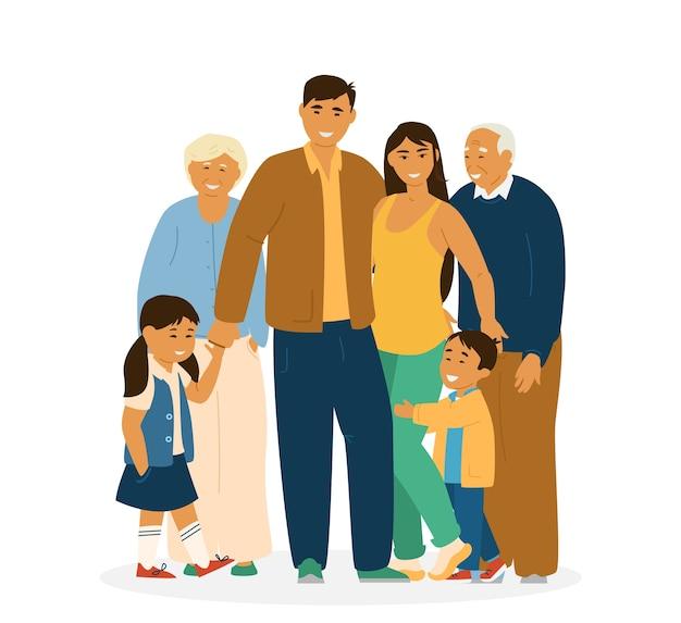 Улыбаясь азиатской семьи, стоя вместе. родители, бабушки и дедушки и дети. на белом. азиатские персонажи. иллюстрация. Premium векторы