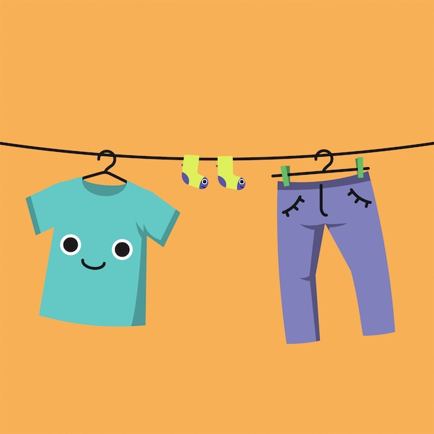Smiling baby clothes on clothes line, habituate kid card or poster. Premium Vector