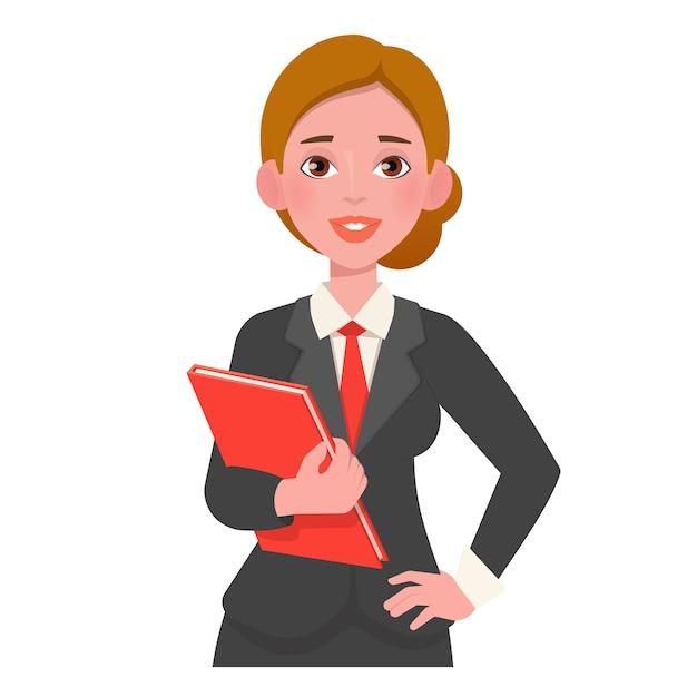 Улыбается красивая женщина в костюме, держа книгу. Premium векторы