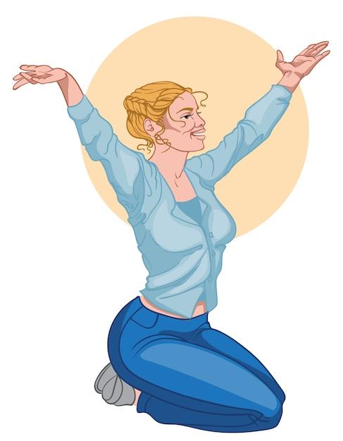 Улыбающаяся блондинка в синей рубашке и джинсах протягивает руки и медитирует Бесплатные векторы