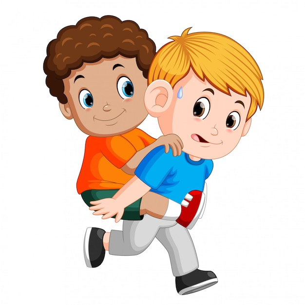 Smiling boy carrying his best friend on his back Premium Vector