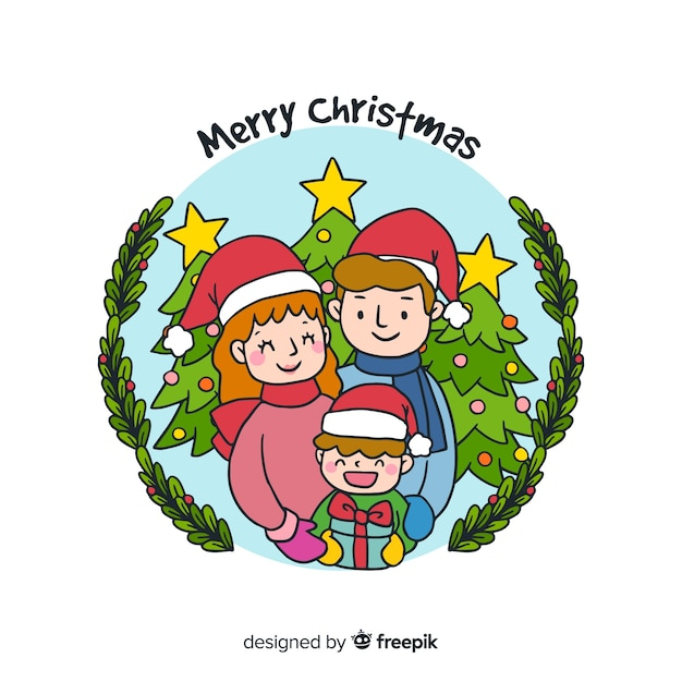 Smiling boy christmas background Free Vector