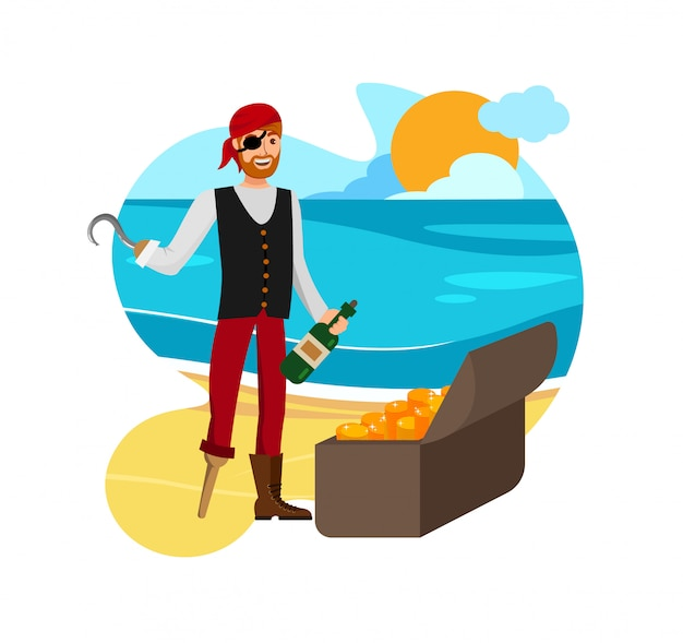 Smiling buccaneer found loot vector illustration Premium Vector