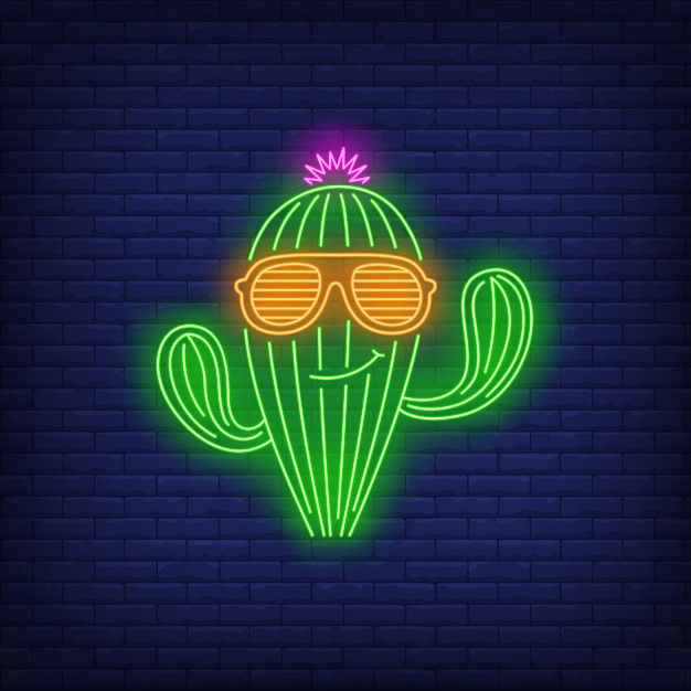Smiling cactus character wearing sunglasses neon sign Free Vector