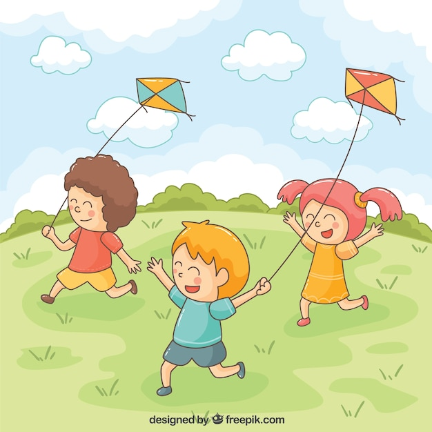 smiling children playing with kites vector free download summer fun clip art red summer fun clip art for preschool