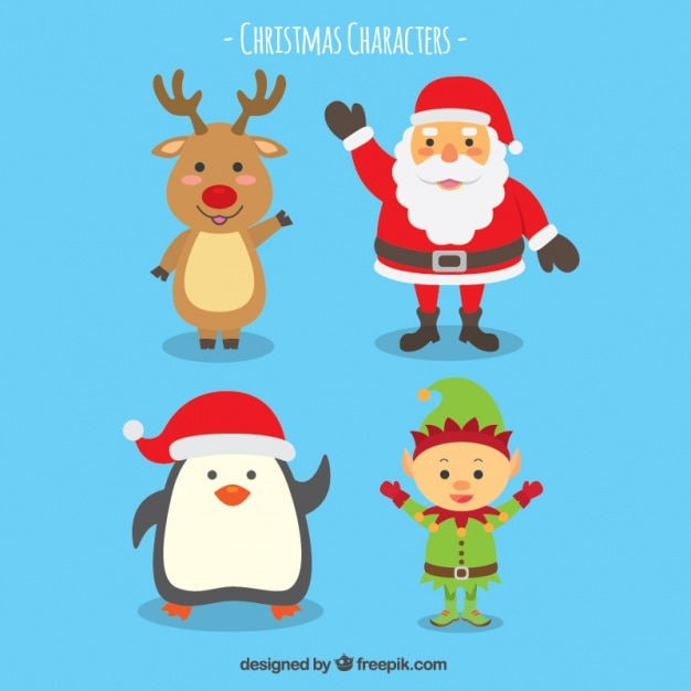 Smiling christmas character collection Free Vector