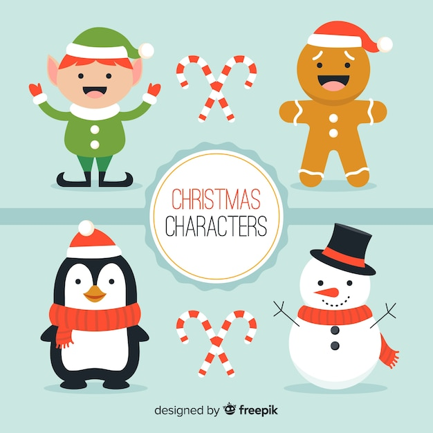 Smiling christmas characters collection Free Vector