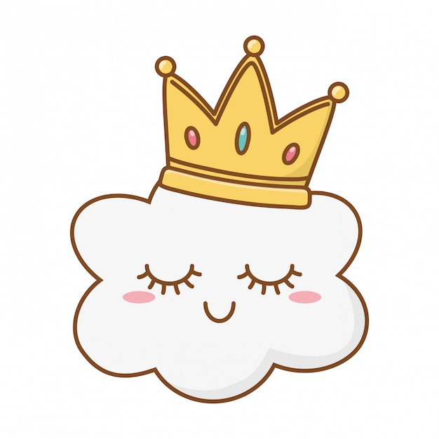 Smiling cloud with crown Premium Vector
