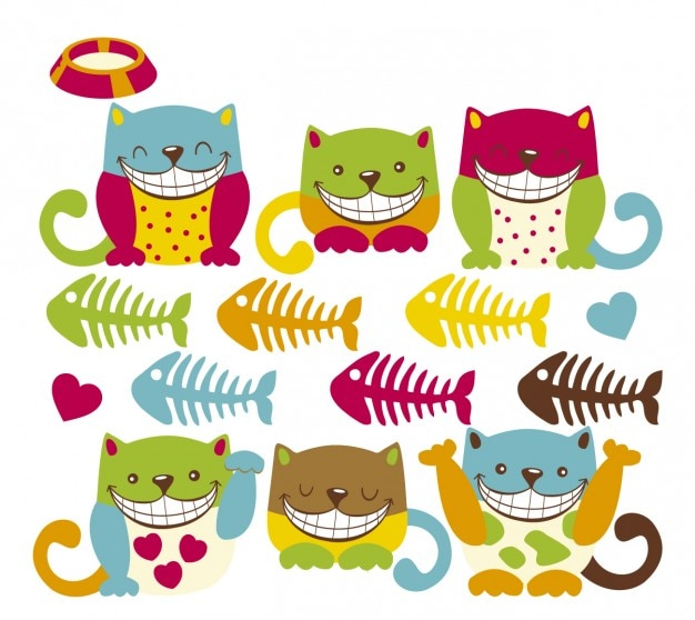 Smiling colorful kitty Free Vector