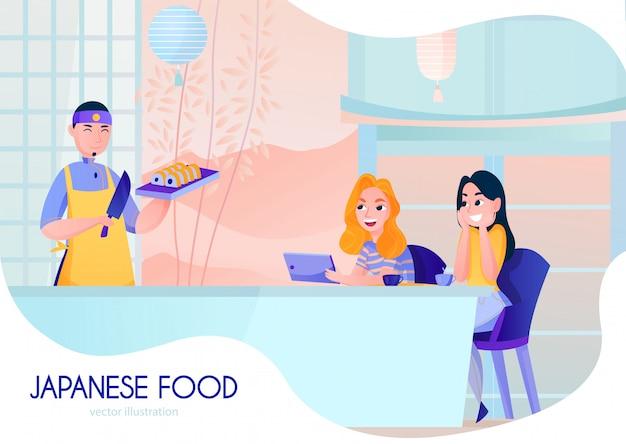 Sushi sorridenti del servizio del cuoco nel fumetto del ristorante giapponese Vettore gratuito
