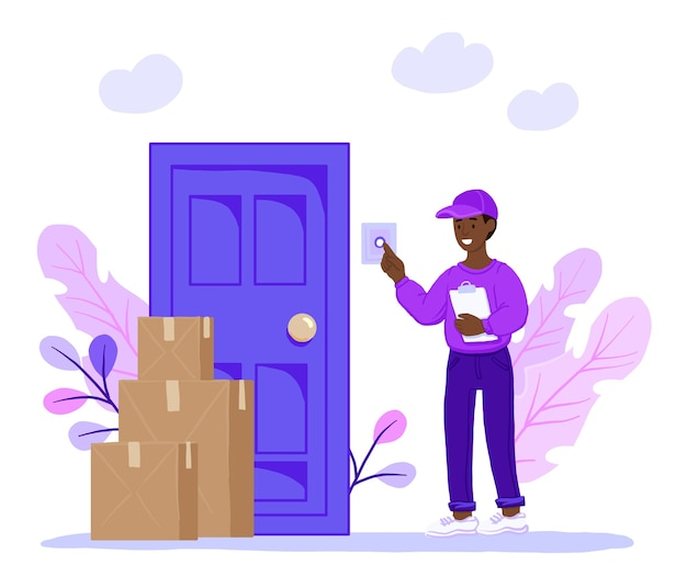 Smiling courier rings the door of the house. Premium Vector