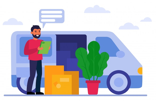 Smiling courier standing near van and boxes Free Vector