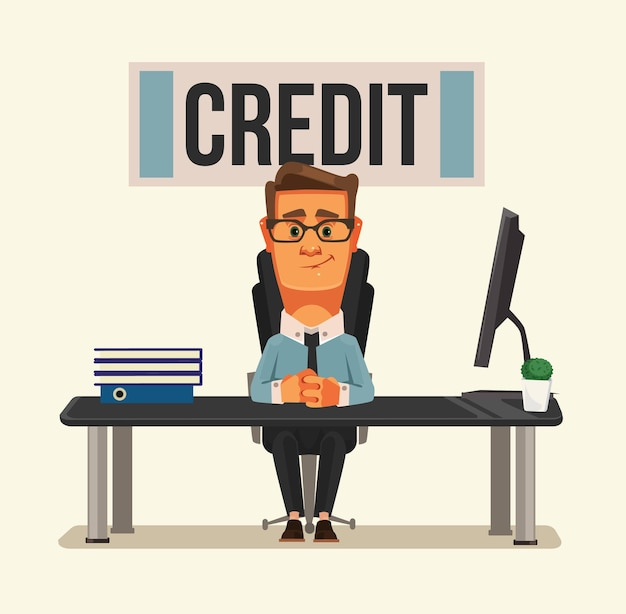 Smiling credit manager character sitting at bank office. Premium Vector
