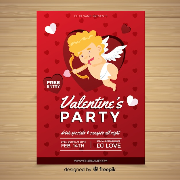Smiling cupid valentine party poster template Free Vector