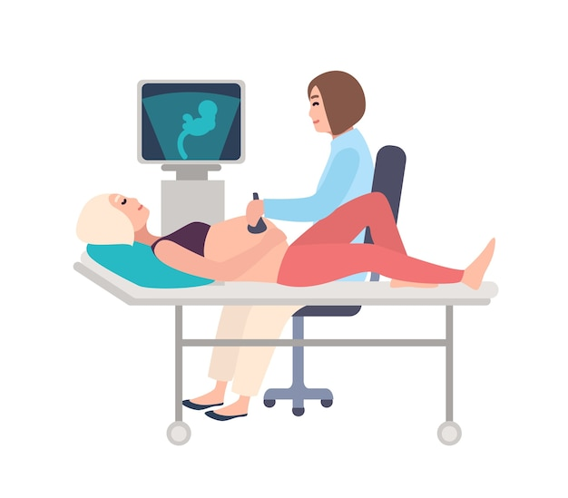 Smiling doctor or sonographer doing obstetric ultrasonography procedure on pregnant woman with medical ultrasound scanner Premium Vector