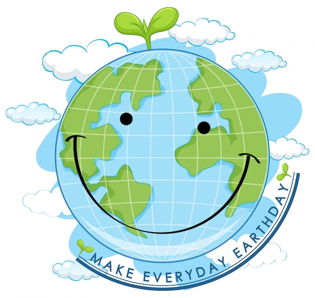 Smiling earth day Premium Vector
