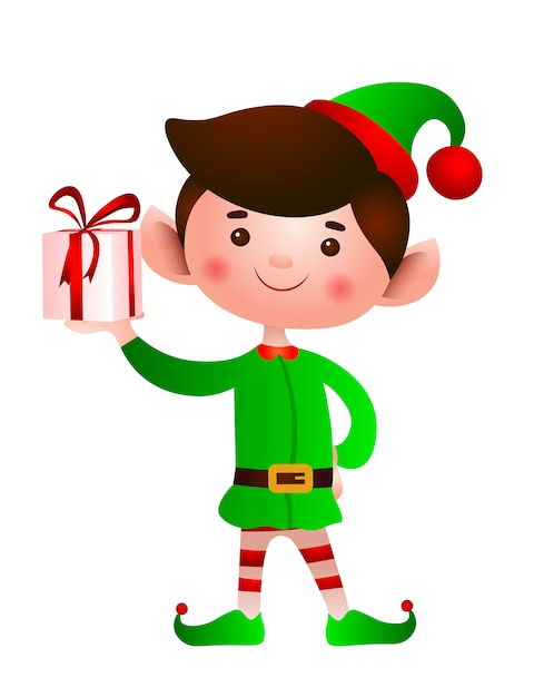 Smiling elf holding gift box illustration Free Vector