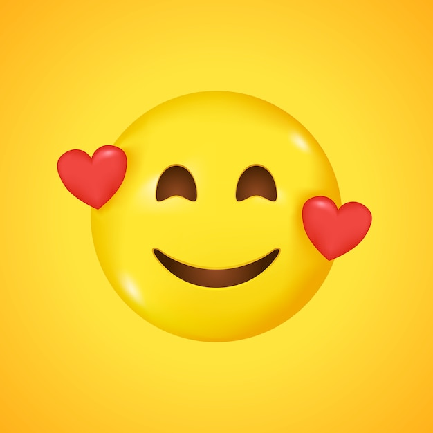 Smiling emoticon with three hearts. big smile in 3d Premium Vector