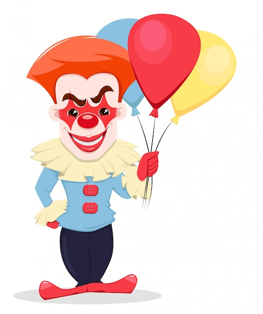 Smiling evil clown with air balloons. Premium Vector