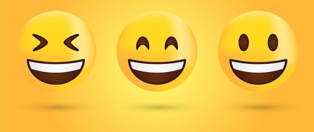 Smiling face emoji or happy laugh emoticon Premium Vector