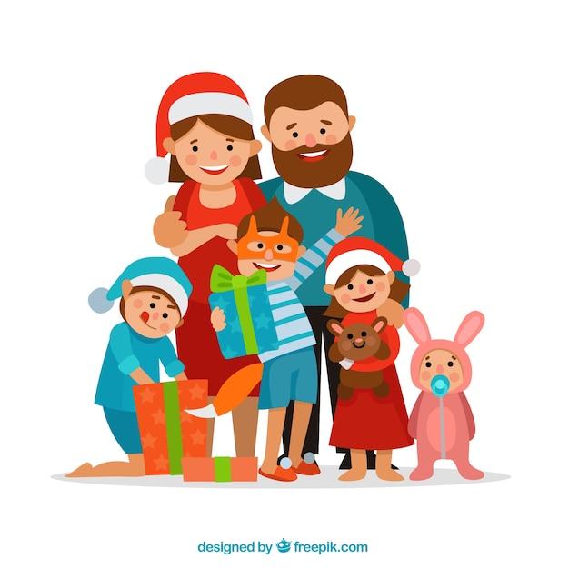 贈り物イラストと笑顔の家族 Premiumベクター