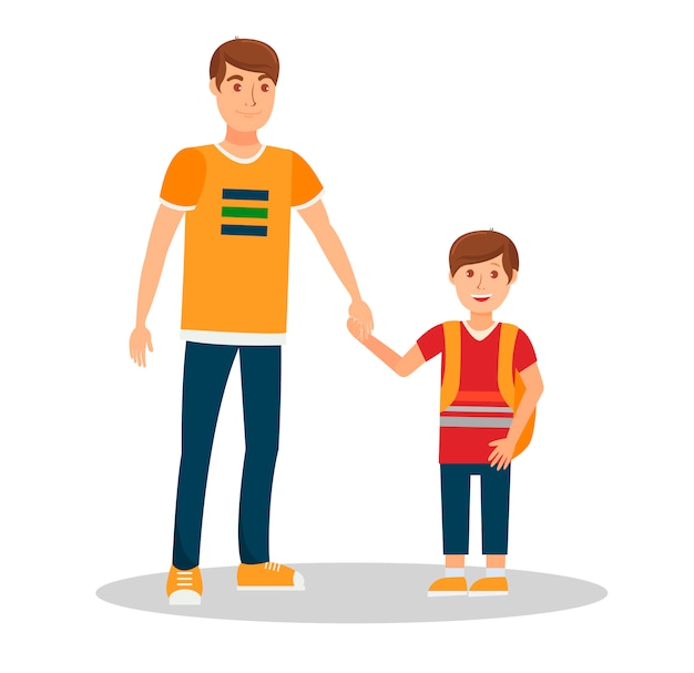 Smiling father with son flat vector illustration Premium Vector