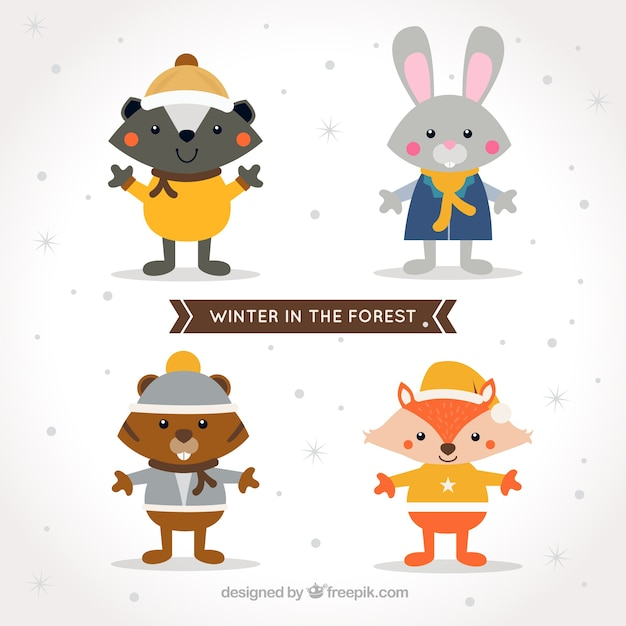 Smiling forest animals with winter\ clothes