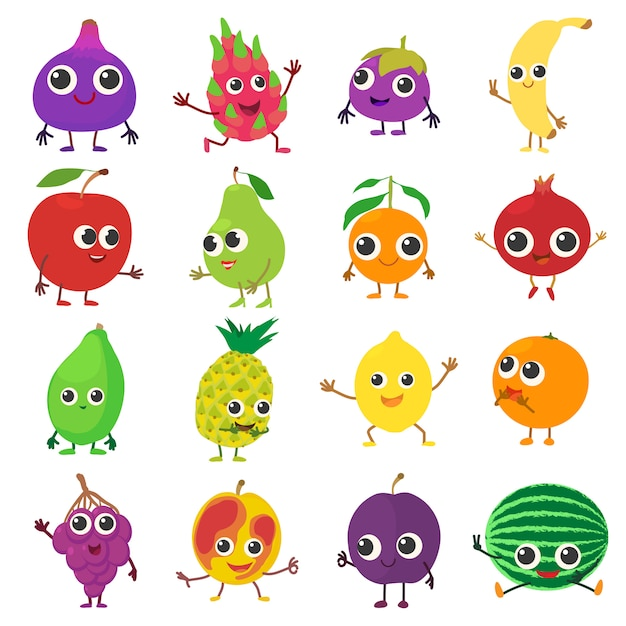 Smiling fruit icons set. cartoon illustration of 16 smiling fruit vector icons for web Premium Vector