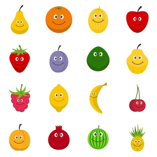 Smiling fruit icons set Premium Vector