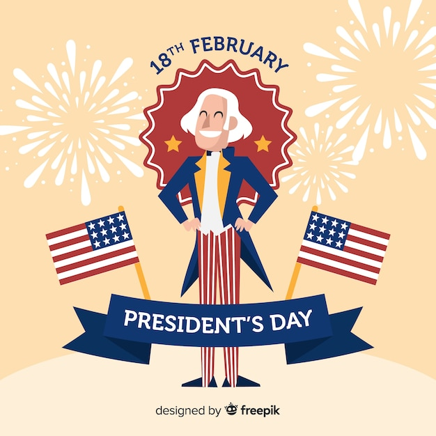 Smiling george washington president day background Free Vector
