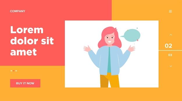 笑顔の女の子と空の吹き出し。手、話す、会話。ウェブサイトのデザインやランディングウェブページのコミュニケーションとメッセージのコンセプト 無料ベクター