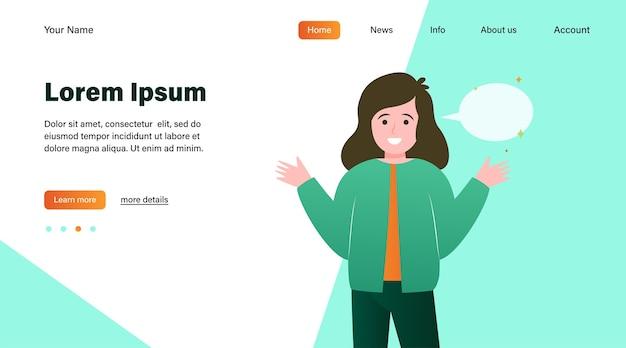 Улыбающаяся девочка и пустой речевой пузырь. рука, выступая, разговор плоский векторные иллюстрации. дизайн веб-сайта концепции коммуникации и сообщений или целевая веб-страница Бесплатные векторы