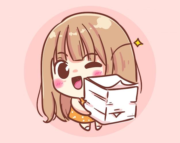 Улыбающаяся девушка с бумажными документами, мультяшная иллюстрация premium векторы Premium векторы