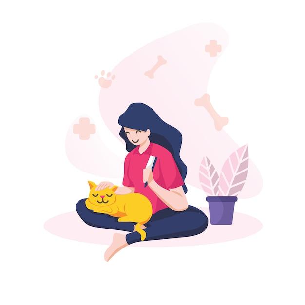 Smiling girl combing her cat  isolated Premium Vector