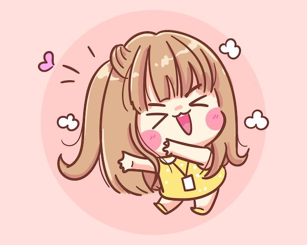 Улыбающаяся девушка счастливая и забавная мультяшная иллюстрация premium векторы Premium векторы