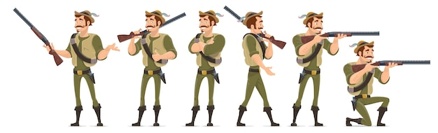 Smiling hunter characters collection in various poses with shotgun knife and bullets isolated Free Vector