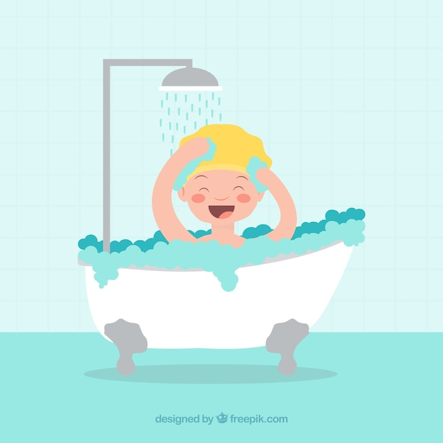 Smiling kid taking a bath Free Vector