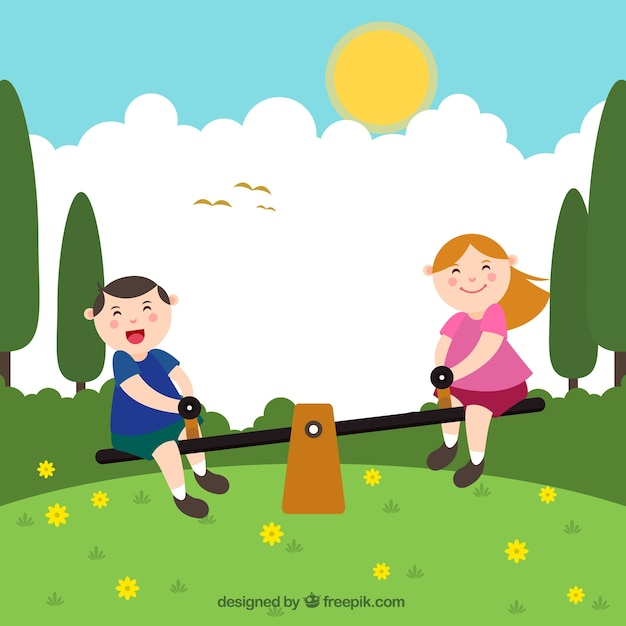 Smiling kids playing on a seesaw Free Vector