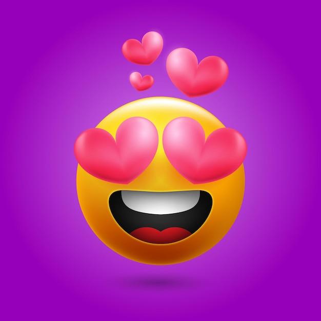 소셜 미디어를위한 웃는 사랑 이모티콘 무료 벡터