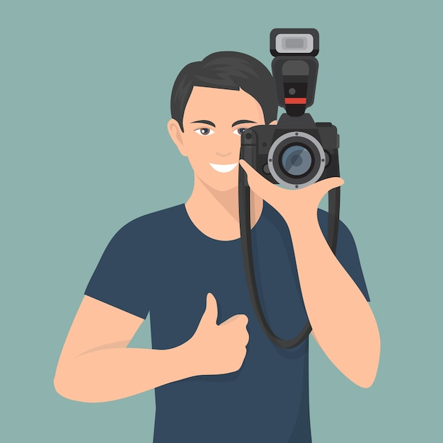 Smiling male photographer with professional photo camera Free Vector