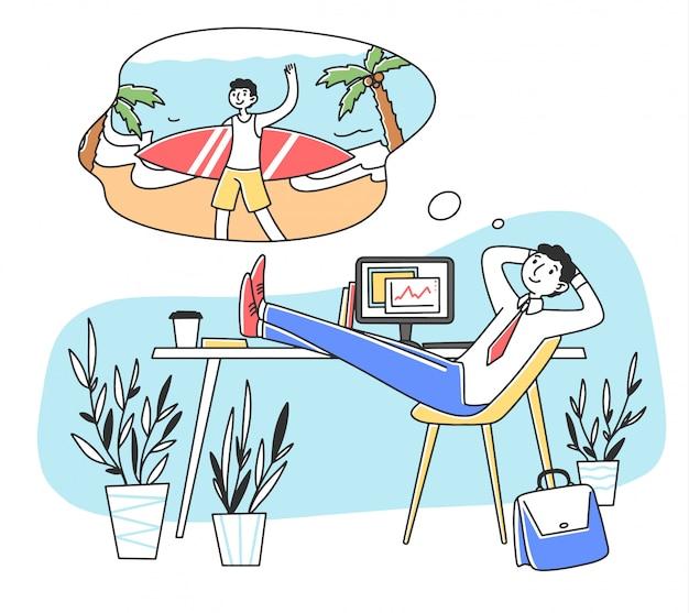 休暇の図を夢見て仕事で笑みを浮かべて男 Premiumベクター