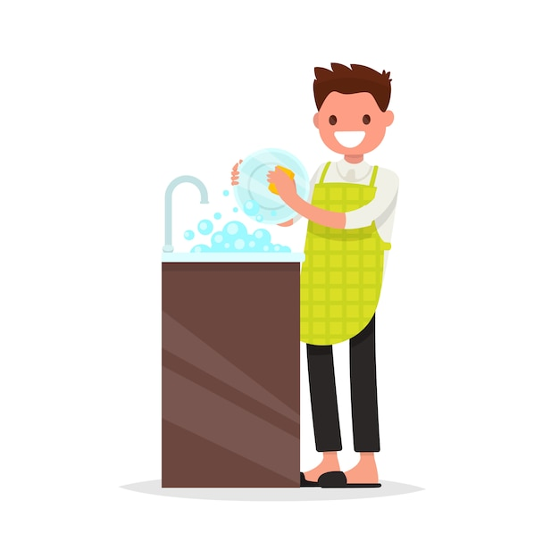 Smiling man dressed an apron is washing dish illustration Premium Vector