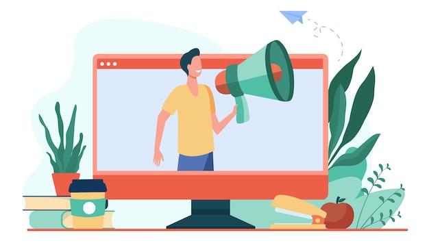 Улыбающийся человек разговаривает в громкоговорителе на мониторе. социальные медиа, компьютер, онлайн плоская векторная иллюстрация. связь и цифровые технологии Бесплатные векторы