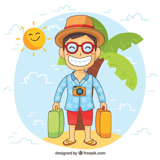 Free Vector Smiling Man Traveling