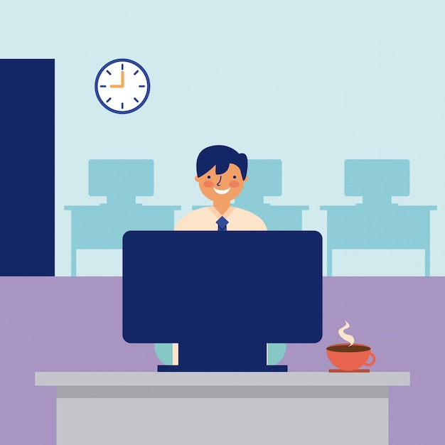 Smiling man working office daily activity Free Vector