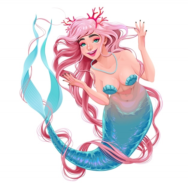 Smiling mermaid with long hair Premium Vector