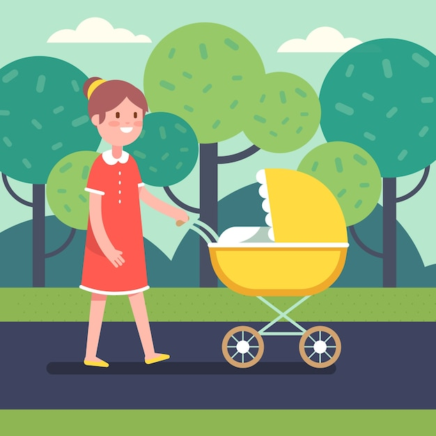 Smiling mother with her baby child in stroller